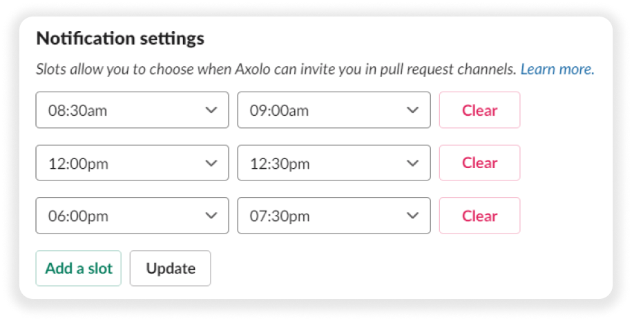 Code review slots in Axolo