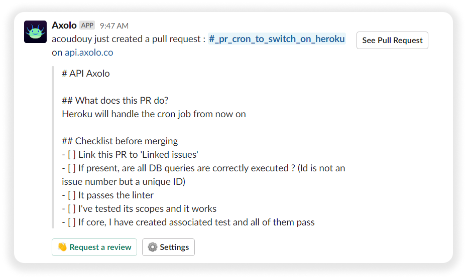 Pull request reviewer and labels in Axolo